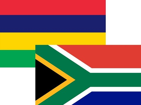 South Africa and Mauritius flags