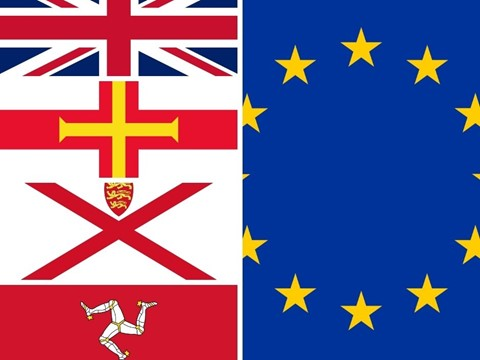 Flags of the UK, EU, Jersey, Guernsey and the Isle of Man